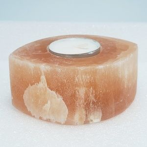 Accents - Peach Selenite Evil Eye Candle Succulent Holder